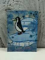 "ACEO Artist Trading Card ""Blue Christmas Penguins"" Artist Hand Made Glitter"