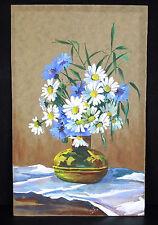 Bouquet de fleurs oeillets marguerites aquarelle sgnée Flowers Carnations daisie