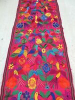 Mexican Textile Woven Embroidered Table Runner Chiapas Flowers Hummingbird 96""