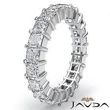 Wedding Band Womens Eternity Ring 18k White Gold Prong Set Princess Diamond 4Ct