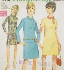 Vintage Dress Sewing Pattern Size 10 1967 Straight Bias Collar Mad Men Style