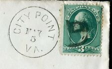 """1883 #158 cover with """"CITY POINT VA MAY 5"""" FANCY """"B"""" Cancel; Horner Cover. SUPER"""