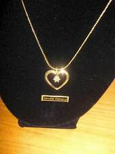 "Gold Tone Heart Necklace on 16"" Chain w/Genuine Diamond Chip ~ NIB"