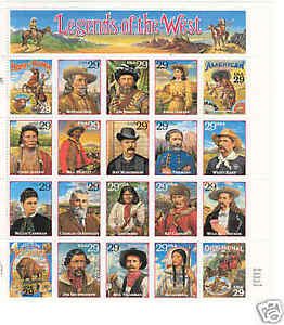 US 2869 Legends of the West sheet of 20 MNH