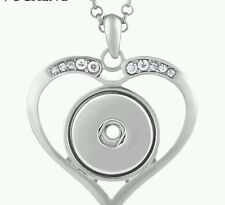 Silver Heart Necklace Fit 18mm  ginger Snap Charm adj Stainless Steel Chain USA