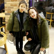 Winter Mother Daughter Christmas Faux Fur Coat Outwear Matching Clothes Jacket
