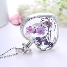 Glass Wishing Pendant Necklace E Beautiful Purple Flower Dry Flower Heart