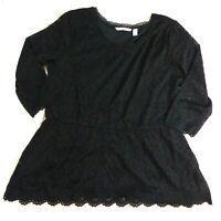 Isaac Mizrahi Stretch Floral Lace 3/4 Sleeve Peplum Top (Black, XL) A298792