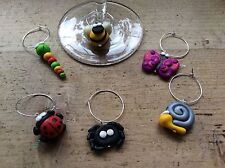 Wine Glass 6 Charms Bugs Summer Garden Bee Snail Ladybug Spider Worm Butterfly