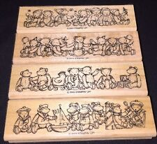 STAMPIN UP TEDDY AND FRIENDS 4 RUBBER STAMPS BEAR BORDERS 2003