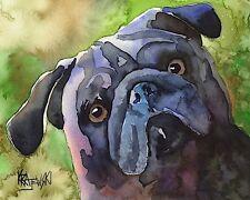 Pug Art Print Signed by Artist Ron Krajewski Painting 8x10 Dog Black