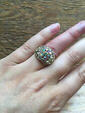 Stunning Vintage Style Rhinestone Dress Ring/Crystal Statement/Cocktail/Yellow