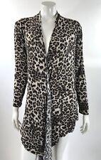 Loveappella Womens Top Plus Size 1X Brown Black Animal Leopard Print Drape Front