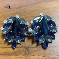 Fashion Blue Gray Crystal Ancient Gold Long Ear Stud Hoop tassels earrings