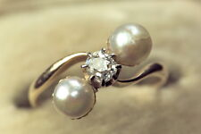 ANTIQUE EDWARDIAN 15K GOLD 'ME & THEE' PEARL DIAMOND RING c1910