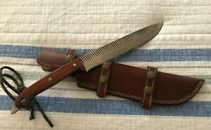 SUPERB FARRIER'S RASP FILE CARBON STEEL OUTDOOR, CAMPING  HUNTING KNIFE w SHEATH