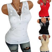Plus Size Womens Sleeveless Zipper V Neck Vest Tank Top Slim Fit Blouse T Shirts