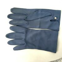 Unbranded Vintage Dress Gloves Blue with Bead Closure Wrist Length