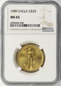 1989 $25 American Gold Eagle 1/2 oz NGC MS65