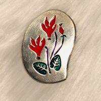 Sterling Silver ISRAEL SIGNED Enamel Flowers Brooch Pin And/or Pendant VINTAGE
