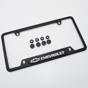 For Chevrolet Brand New License Frame Plate Cover Stainless Steel Black Sport