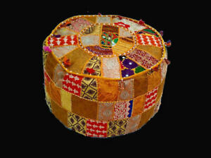 "Ottoman Patchwork Round Indian 18 x 14"" Handmade Cotton Pouf Cover Stool Ethnic"