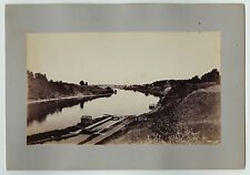 RARE Albumen Photo - Oswego NY River Scene near Town ca 1870s-1880