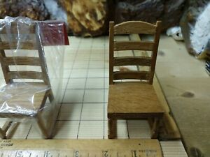 """CONCORD Miniatures 1"""" SCALE DOLLHOUSE Furniture:  Side Chairs  ( Oak )"""