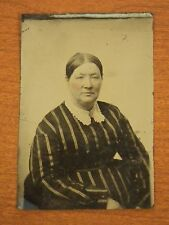 Antique Victorian 1800's Tin Type Studio Photo of a Lady in Stripe Dress