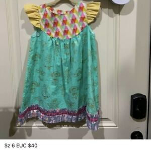 Size 6 Matilda Jane Clothing Platinum Girls Christmas Angel Flutter Dress EUC