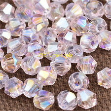 500pcs pink ab exquisite Glass Crystal 4mm #5301 Bicone Beads c33