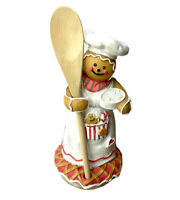 Gingerbread Woman Girl Wooden Spoon Holder Jar Candle Topper Lid
