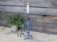 Chic Antique Kerzenständer Metall Brocante grau Kerzenhalter Shabby Vintage