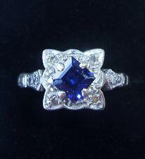 Antique Art Deco 18ct Gold, Platinum, Princess Sapphire & Diamond Ring, Size M