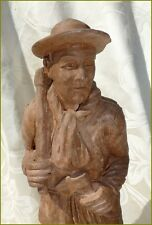 Ancienne Sculpture en Terre Cuite Personnage MINEUR signé A LOCQUET