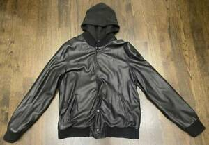 Obey Propaganda Faux Black Leather Hoodie Jacket Men's Size XL Good Pre-Owned Co
