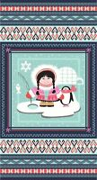 Studio E 100% Cotton Fabric, Arctic girl Panel with Contrasting Fabric