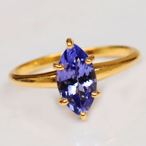 14KT Yellow Gold & AA Natural Blue Tanzanite 1.30CT Marquise Shape Women's Ring