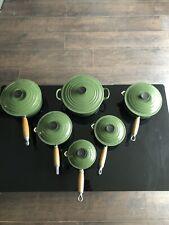 Genuine Le Creuset Five Pan Set Green Cast Iron Saucepans + 22cm Casserole Dish.
