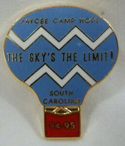 Vintage Camp Hope Sky's The Limit Hot Air Balloon South Carolina Jaycee Pin