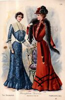 1901 Original Delineator Fashion print - Reception and Visiting gowns