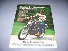 VINTAGE..HARLEY DAVIDSON Z-90.. ORIGINAL COLOR SALES AD...RARE! (386F)