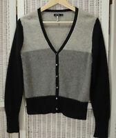 APT. 9 Pure Cashmere Cardigan Jumper S-M 36″ Bust Colourblock Black Grey Sweater