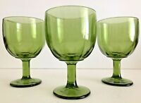 Vintage Set Of 3 Green Glass Footed Beer/Water 16 Oz Goblets