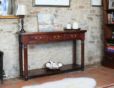 La Roque Solid Mahogany 3 Drawer Console Table Solid Wooden Side End Phone Table