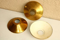 Lot of 3 Vintage Round Lamp Light Shade Metal Gold White Western Shallow
