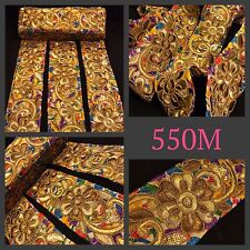 9 Meters Gold Zari Embroidery Suit Sari Border Sequin Trim Sew on Lace Ribbon