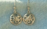 Signed SG Silver 925 Drop Dangle Cut Out Dragon in Circle Pierced Earrings