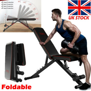 Foldable Dumbbell Bench Weight Training Adjustable ncline/Decline Workout Gym UK