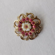 Beautiful Vintage Flower Brooch with Pink Paste Stones Signed Coro